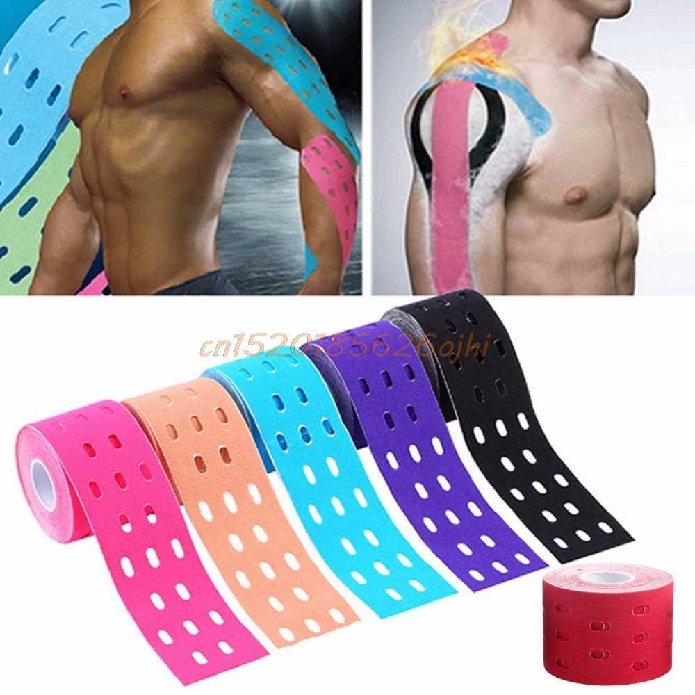 Cinta terapéutica elástica para el cuidado de los músculos de kinesiología 1 rollo 5 m x 5 cm # H030 #
