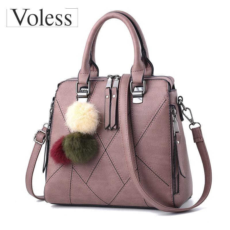 Fashion Hairball Designer Women Leather Handbags Thread Crossbody Bags Women Double Zipper Casual Tote Bag Women