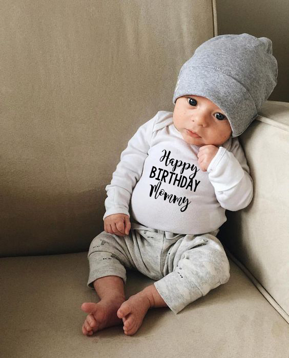 Happy Birthday Mommy Newborn Kids Baby Boys Girls Infant Long Sleeve 100% COTTON Jumpsuit Babe Bodysuit Clothes Outfit Playsuit