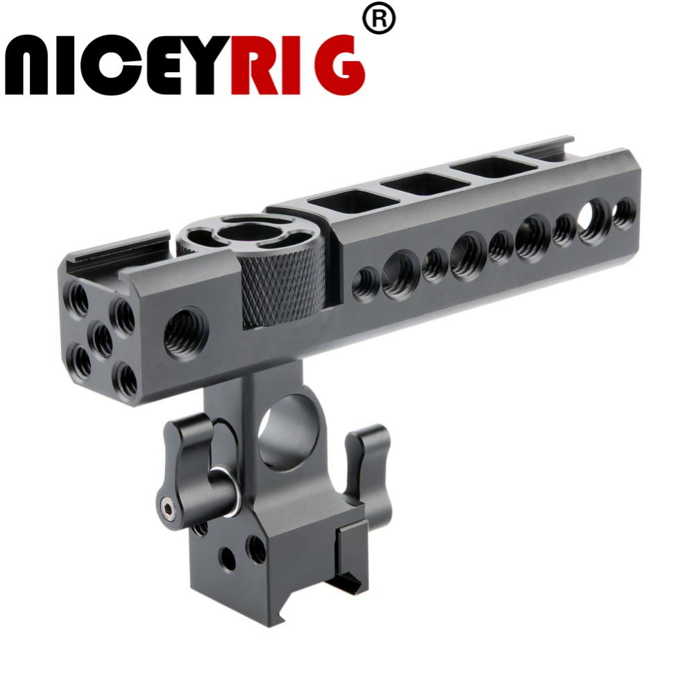 NICEYRIG Camera Cage NATO Top Handle Grip with 15mm Rod Clamp and Cold Shoe Mounts for