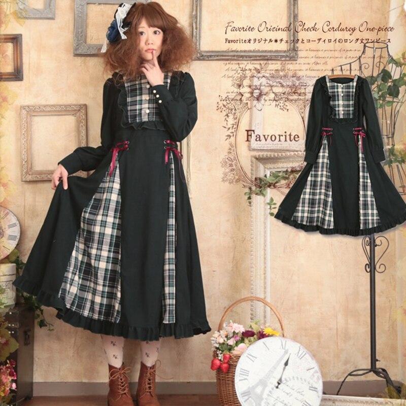 Mori Girl Vintage Plaid Lolita Dress Women Princess Ruffles Maxi Dress Knitted Belt Bow Sashes Female Retro Dresses T383