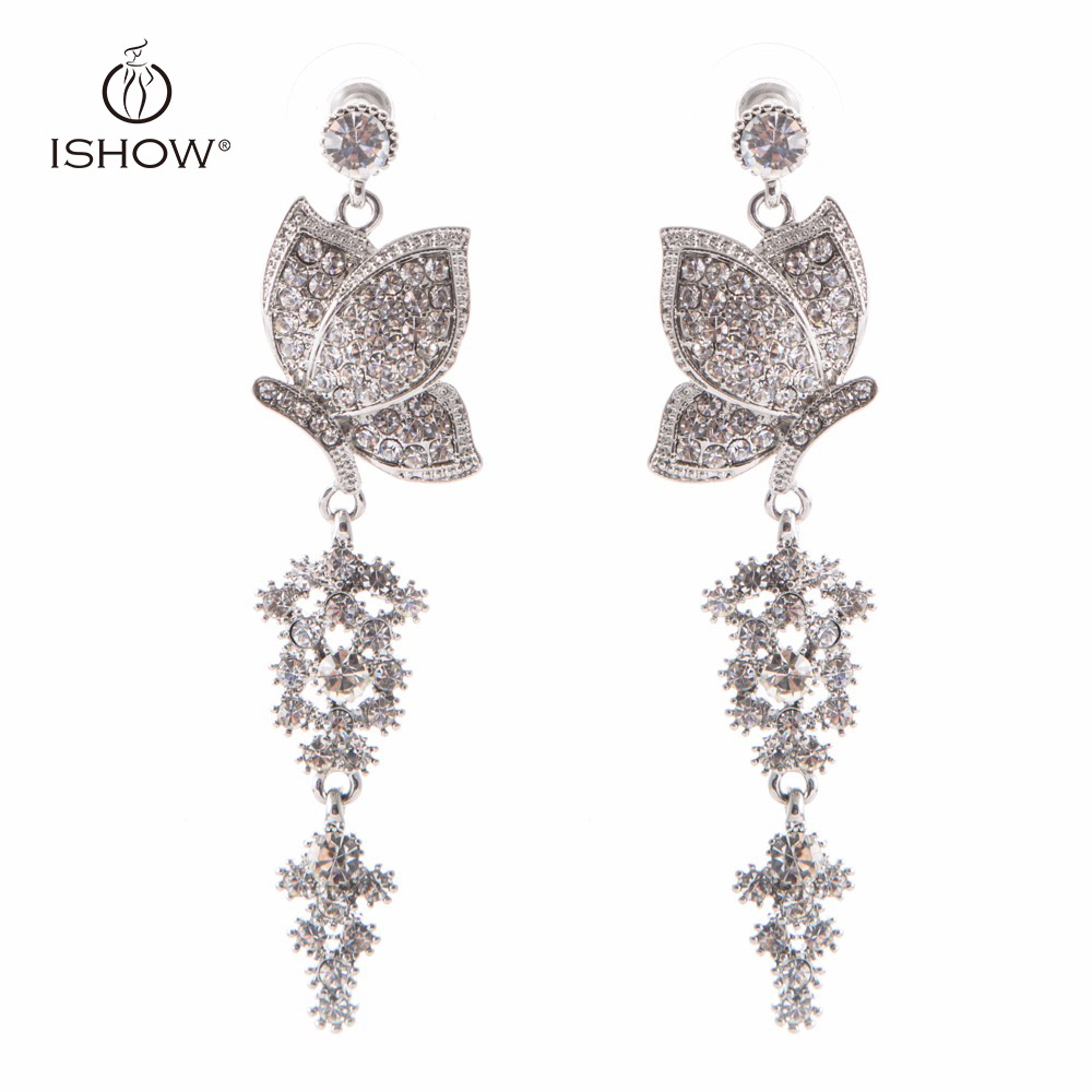 Wedding bride silver plated crystal long chandelier drop earrings wedding bride silver plated crystal long chandelier drop earrings butterfly dangle earrings fashion woman gift jewelry boucle in drop earrings from jewelry arubaitofo Choice Image