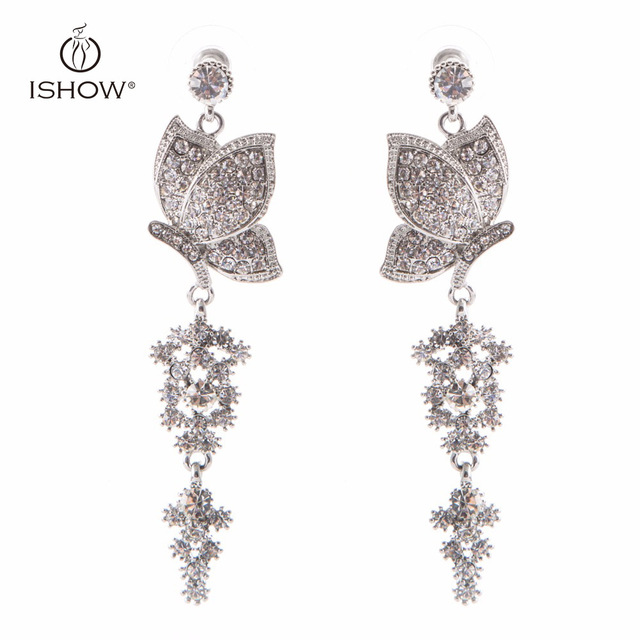 Wedding bride silver plated crystal long chandelier drop earrings wedding bride silver plated crystal long chandelier drop earrings butterfly dangle earrings fashion woman gift jewelry aloadofball Image collections