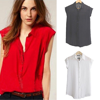 615ed177355792 Sexy Women Ladies Sleeveless Chiffon Shirt Loose Button Down Collar Tops  Blouse