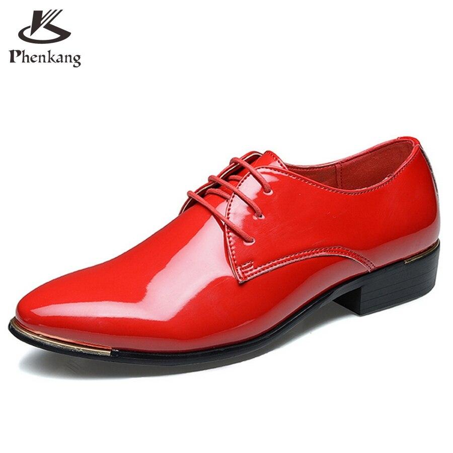 Hombres de charol zapatos ocasionales de negocio de Los Hombres Oxfords Con Cord