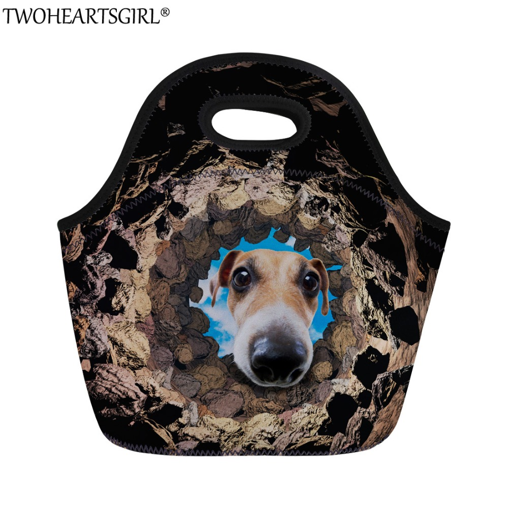 TWOHEARTSGIRL Cute Dog Printing Lunch Bag for Women Casual Students Function Lunch Box Kids Soft Lunch Handbag Picnic Lunch Tote