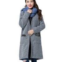 Yeni Bayan Ceketler Artı kadife Kalın Sıcak Cep Uzun Coat Örme Hırka Kazak 2018 Sonbahar Kış Gevşek Uzun kollu Kadın