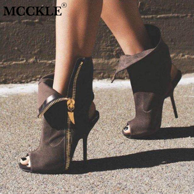 MCCKLE Women Flock Peep Toe Zipper Ankle Boots Ladies Sexy lapel stiletto  shoes woman Sandals 2018 Spring Thin High Heels 5395345716c0