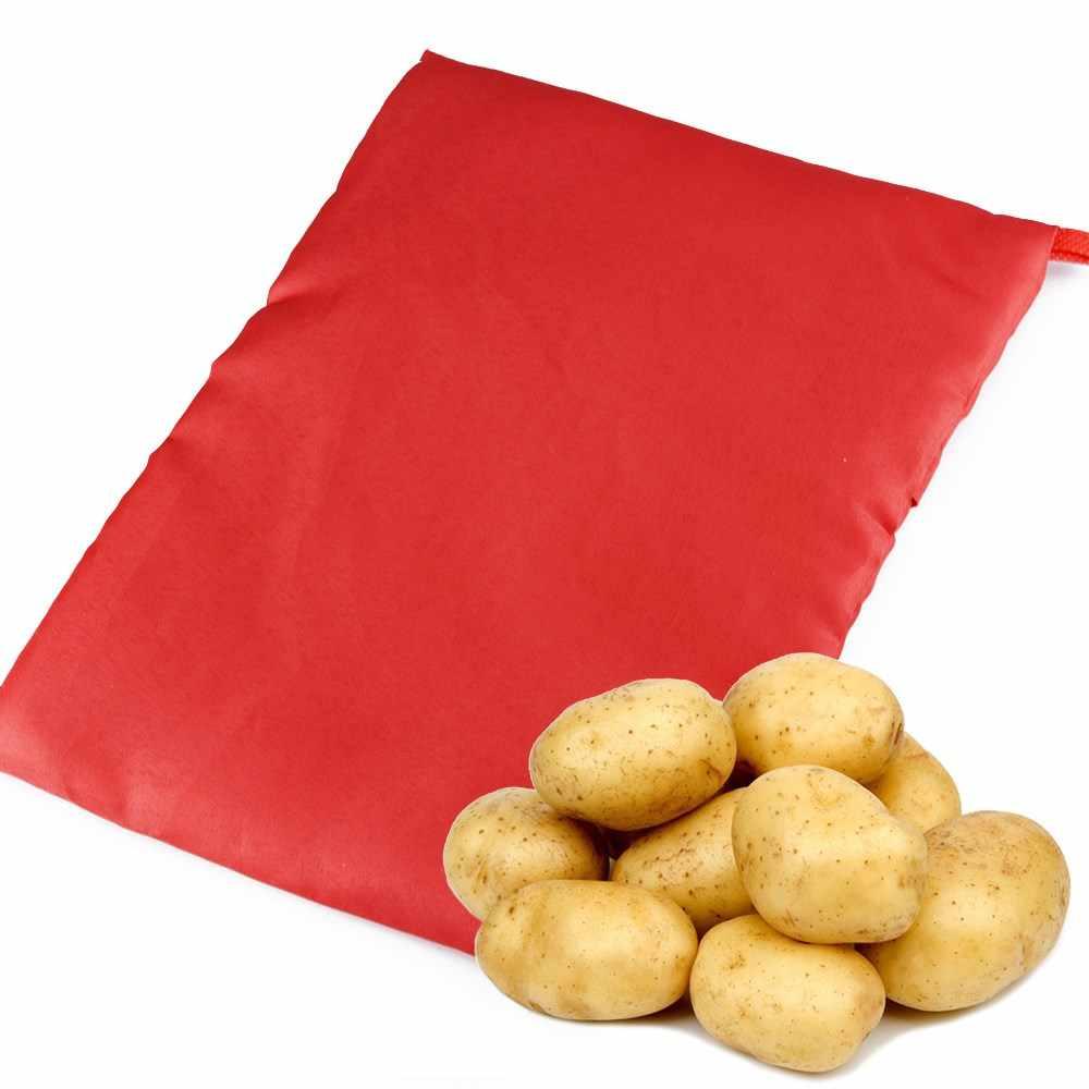 أحمر قابل للغسل طباخ حقيبة خبز البطاطس الميكروويف الطبخ البطاطس سريعة سريعة (يطبخ 4 البطاطس في وقت واحد) Hot 2018