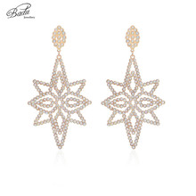 Badu Big Luxury Earrings for Women Shiny Rhinestone Statement Dangle Drop Earrings Fashion Jewelry Wholesale badu 5 colors acrylic flower earrings for women big statement vintage dangle drop earrings wholesale