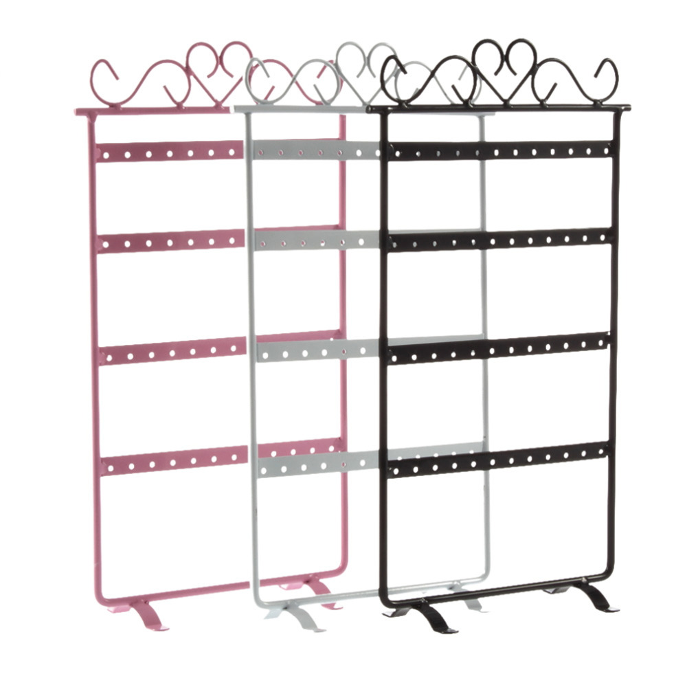 48 Hole Earrings Holder Ear Studs Display Rack Metal Jewelry Holder Stand Showcase Pink 295*160mm Display Cases &15