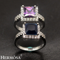 Elegant Square Design Pretty Ladies Wedding Jewelry 925 Sterling Silver Ring For Women Size 8 Shiny