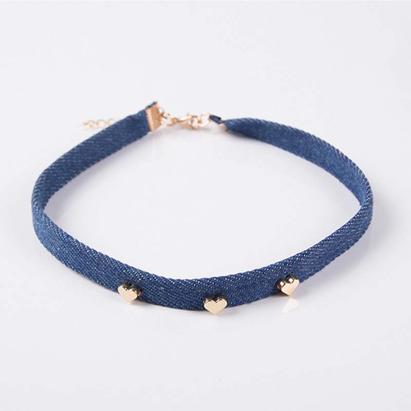 New Arrival Girls Women Fashion Blue Jean Denim Choker Necklace With Metal Heart Pentagram Pendant Decorated Punk Necklace