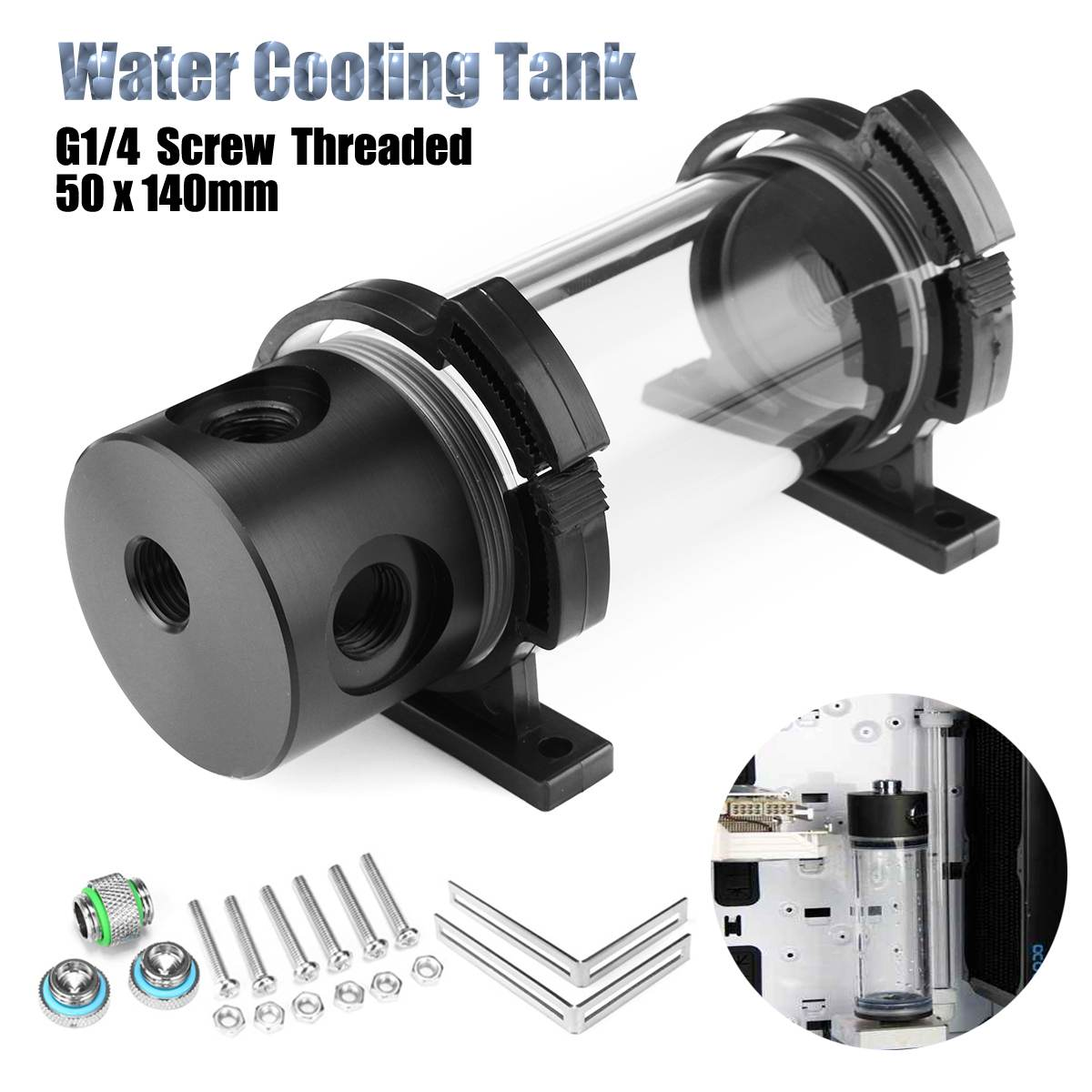 G1/4 Thread Water Cooling Tank 50mm X 140mm Acrylic Cylinder Reservoir Tank For PC Computer Liquid Cooling With L Shape Buckle
