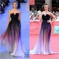 Vestidos 2016 Elie Saab Nuevo Gradiente Ombre Gasa Vestido de Fiesta Vestido de Noche Sin Tirantes con Pliegues Vestido de Las Mujeres Navy Lily Collins