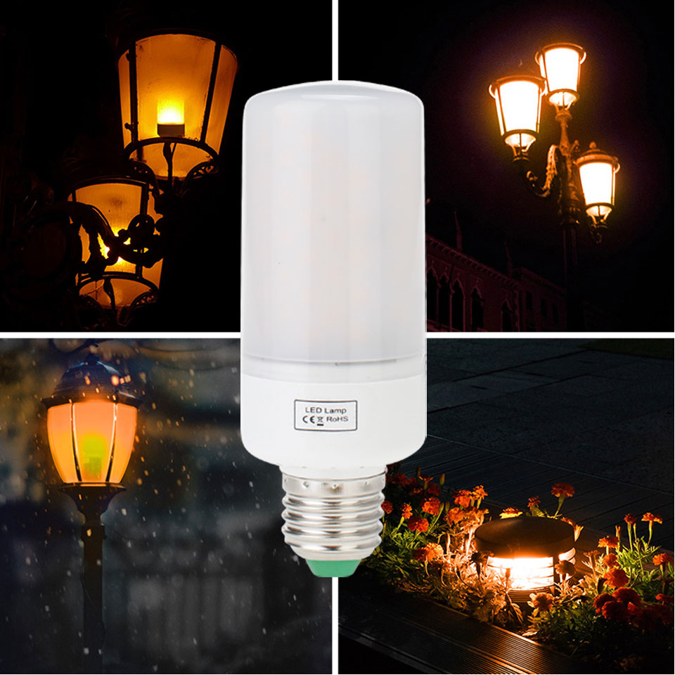 LED Fire Light 3 Modes E26 E27 B22 Bayone LED Flame Effect Simulated Nature Bulb Decor Lamp AC 85-265V Yellow 1800K Lamps Lights ...