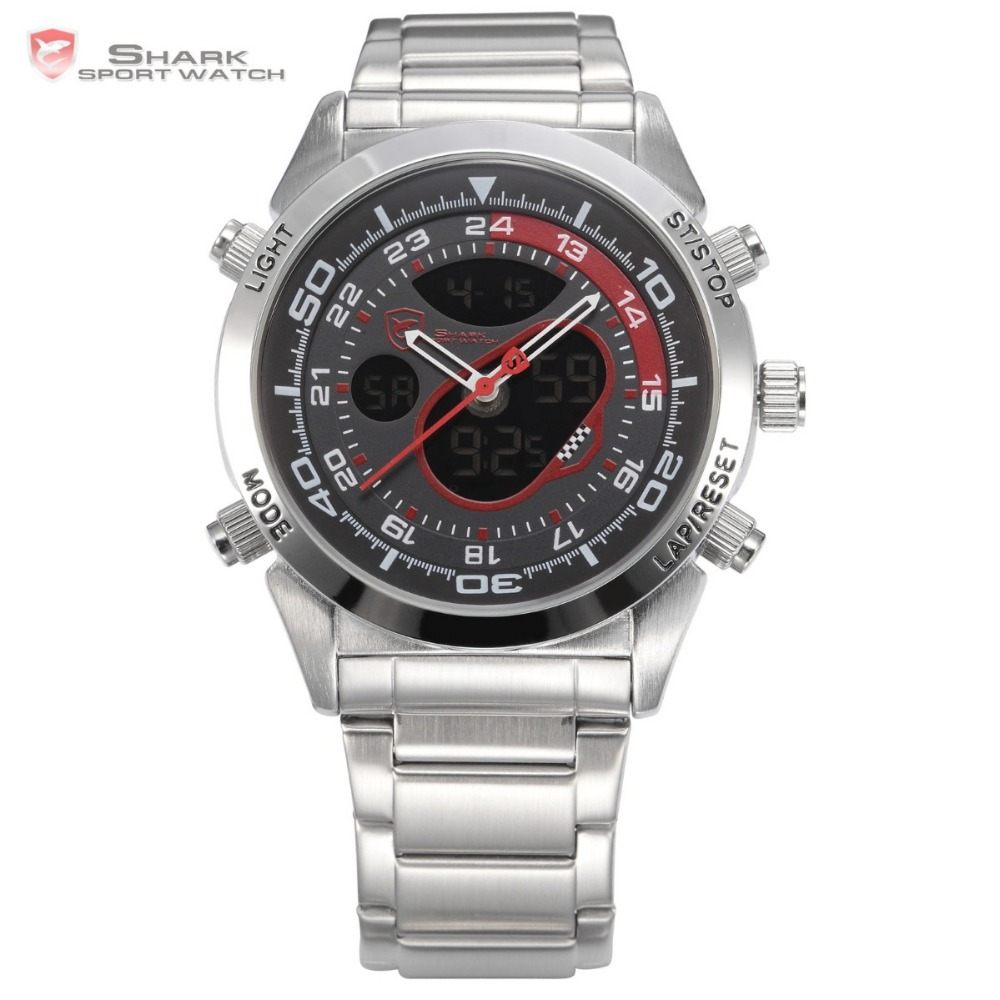 Snapper Shark Sport Watch Mens Stainless Full Steel Band LCD Dual Movement Male Black Red Clock Quartz Digital Wristwatch /SH149 goblin shark sport watch 3d logo dual movement waterproof full black analog silicone strap fashion men casual wristwatch sh165
