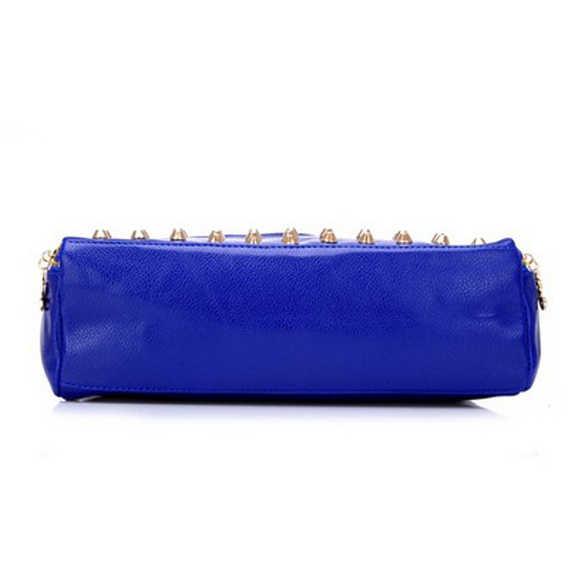 Новинка 2019, модная женская сумка из искусственной кожи, разделенная сумка на плечо с заклепками, сумка-мессенджер, сумка-тоут черного/синего цвета, женская сумка FA $ B
