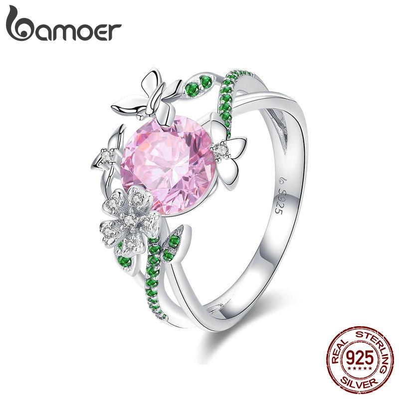 BAMOER 925 Sterling Silver Secret Garden Flower Butterfly Finger Rings for Women Pink CZ Wedding Engagement Ring Jewelry BSR010 mariposa en plata anillo
