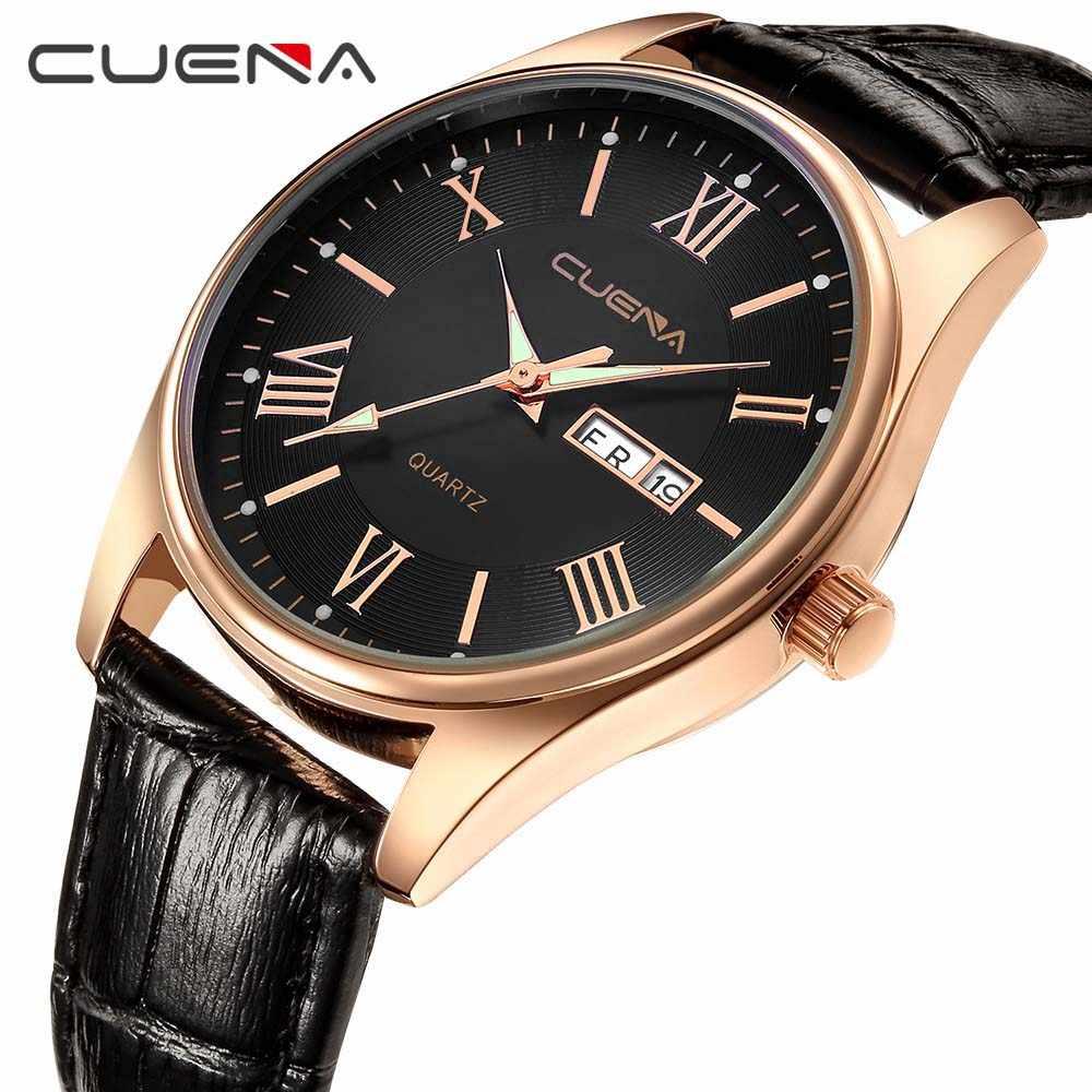 CUENA 男性の革の腕時計クォーツ時計ファッション男性 30 メートル防水ためのシンプルなデザインシンプルなカレンダー時計レロジオ masculino