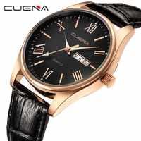 CUENA Male Leather Watches Quartz Watch Fashion Simple Design For Men 30M Waterproof Simple Calendar Watch relogio masculino
