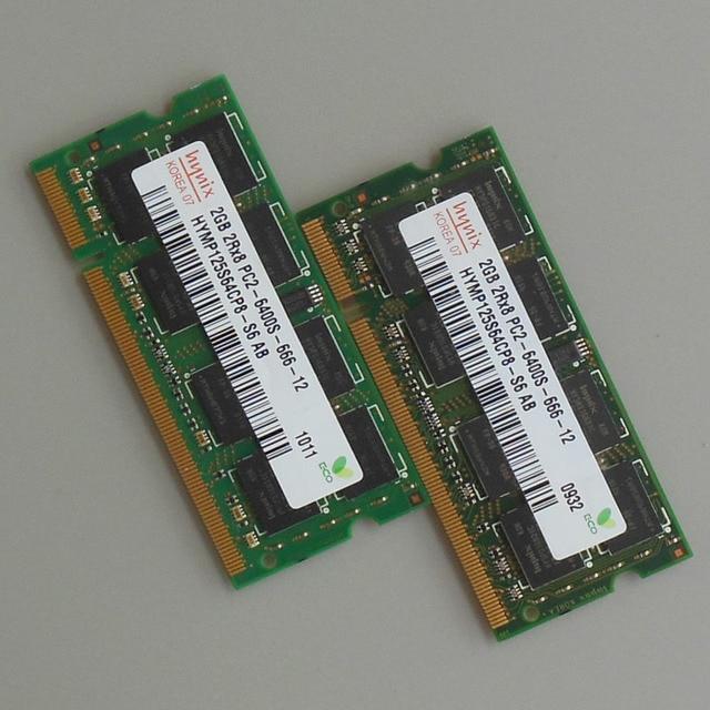 Hynix 4 ГБ комплект 2X2 ГБ PC2-6400S DDR2-800 800 мГц DDR2 2RX8 SODIMM памяти ноутбука Тетрадь Оперативная память 4 ГБ Non-Ecc 200 низкая плотность