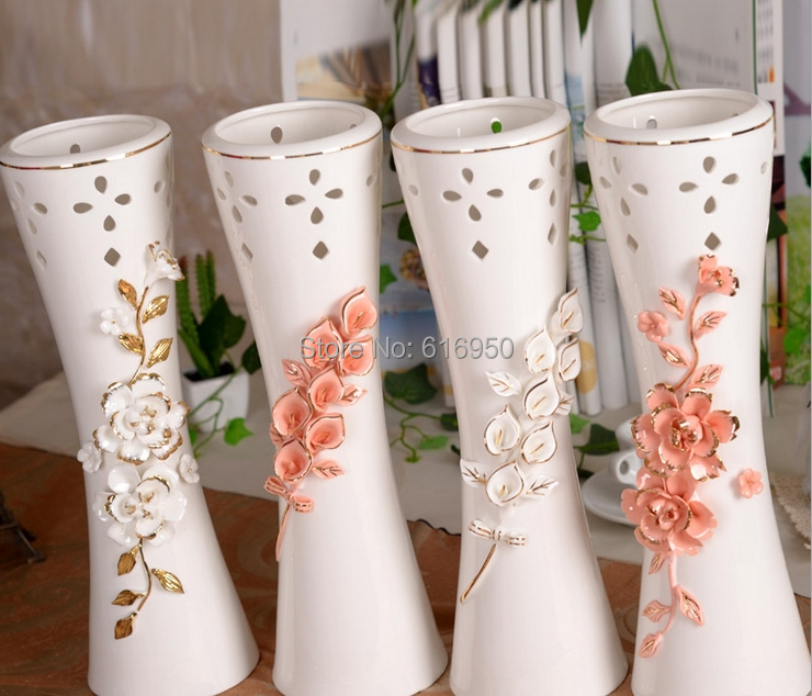 Ceramic Outline In Gold Flower Vase Rose Callas Home Decorative