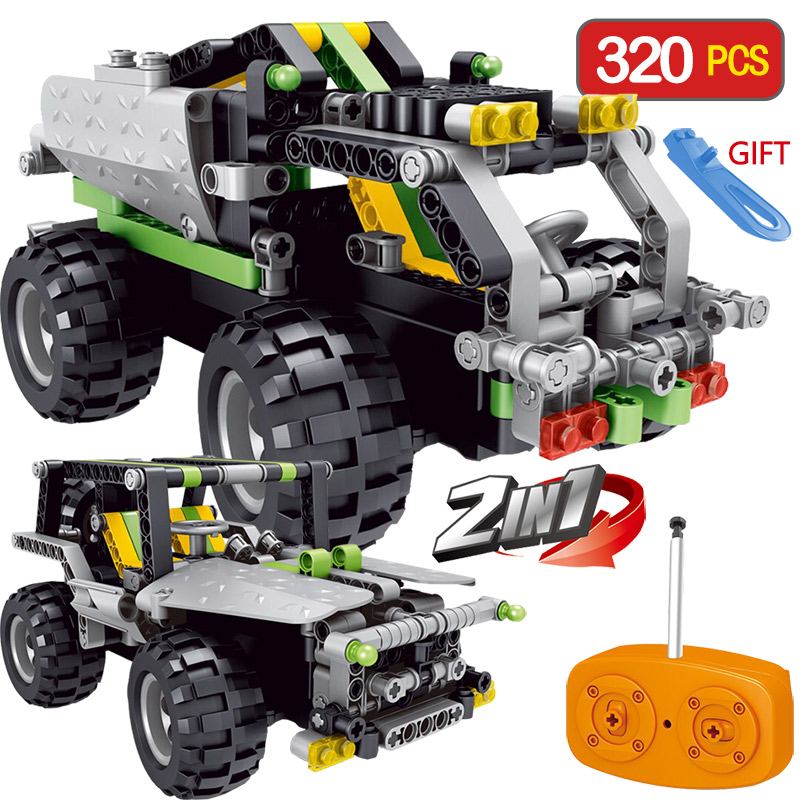 2 IN 1 RC Building Block Car Radio Control Compatible LegoING Remote control Car Green SUV Assembled Blocks Children Toys Gift 2 in 1 rc car compatible legoinglys radio technical vehicle green suv control blocks assembled blocks children toys gift