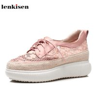 Lenkisen cow leather round toe lace platform causal shoes med heel preppy style lazy pink runway women vulcanized shoes L12