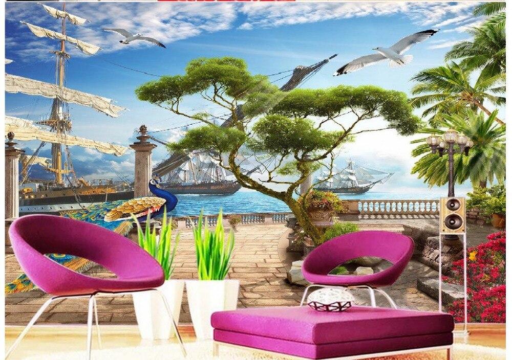 ФОТО custom 3d mural wallpaper tv backdrop Aegean harbor ship Wall murals nature Home Decoration papel de parede