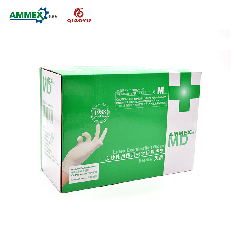 Ammex Taxtured disposable medical rubber sterile gloves powder free latex examination gloves independent packing disposable gloves latex s natural pk100
