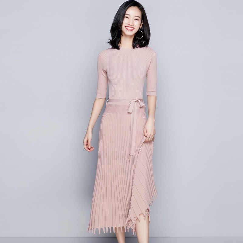 97c64b115fc 2018 Autumn women s new stylish knitting dress half sleeve hem tassel waist  was thin long knitted