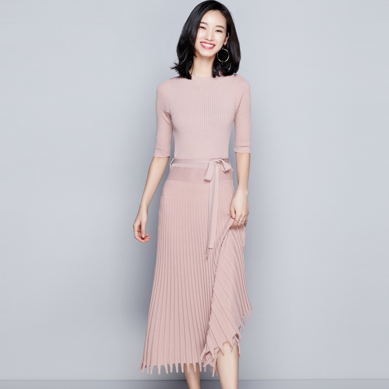 brown Wood For Was Stylish Half Black Knitting Color 2018 Women Dress Hem Pleated Sleeve Tassel New grass Thin Knitted A1722 pink Autumn Women's And Sand Long Waist aqnRC4