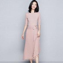 2018 Autumn women's new stylish knitting dress half sleeve hem tassel waist was thin long knitted pleated dress for women a1722