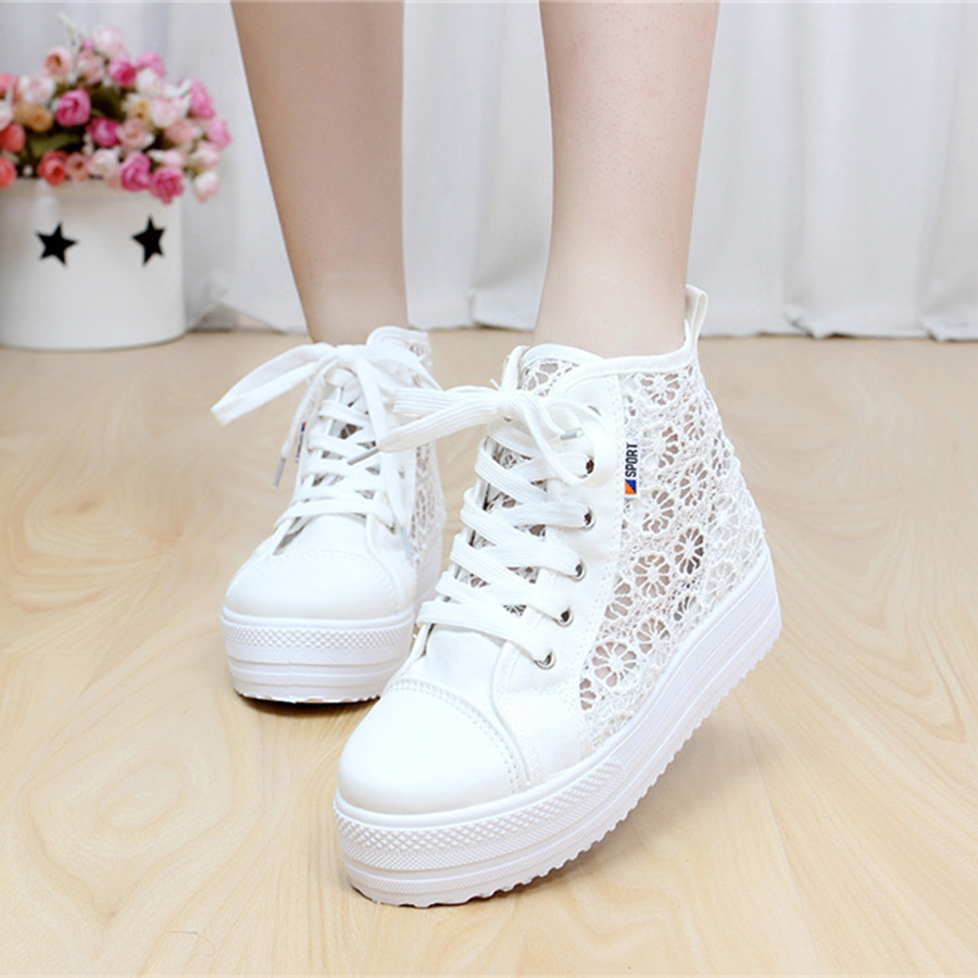 2017 Summer Women Shoes Casual Cutouts Lace Up Canvas Colour Shoes Hollow Floral Breathable Platform Flat Shoe High Top dreamshining summer women shoes casual cutouts lace canvas shoes hollow floral breathable platform flat shoe sapato feminino