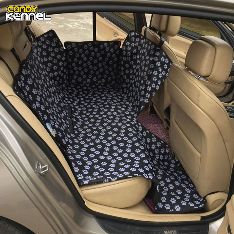 CANDY KENNEL Footprint Dog Carriers Waterproof Rear Back Pet Dog Car Seat Cover Mats Hammock Protector With Safety Belt D1010