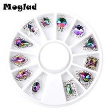 Moglad hot sale 1 Box Symphony AB Diamond Nail Rhinestone Colorful Nail Art Nail Wheel DIY Beauty Charm Nail Jewelry Decorations