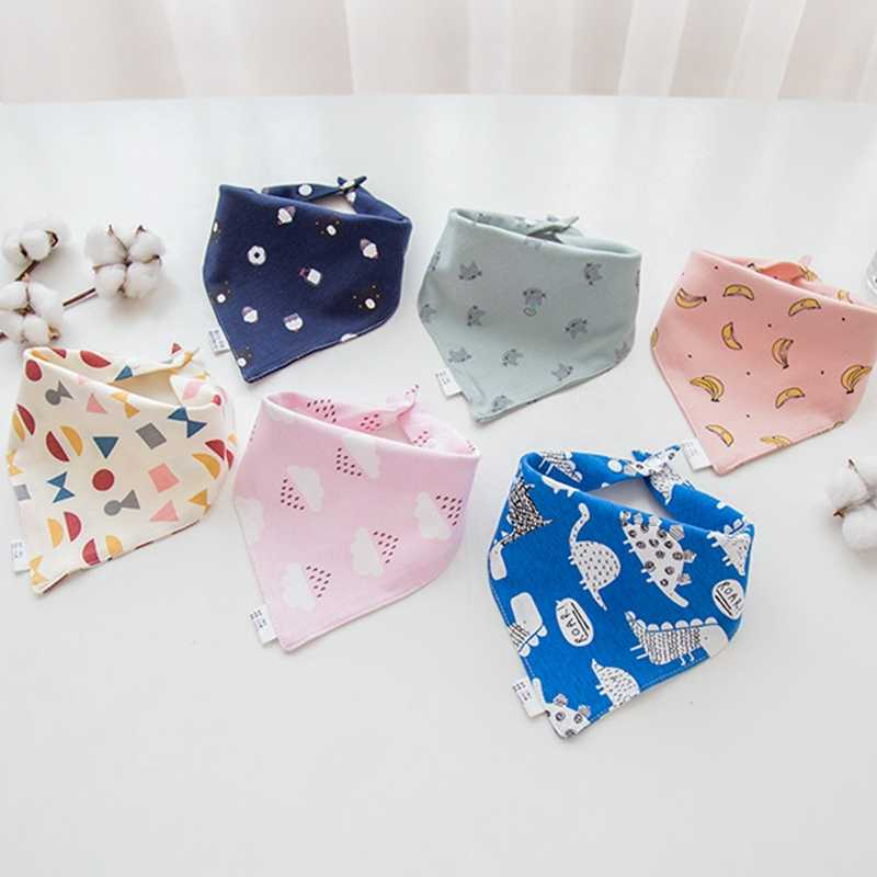 Baby Bibs High Quality Triangle Double Layers Cotton Baberos Cartoon Character Animal Print Baby Bandana Bibs Dribble Bibs Towel