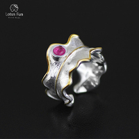 Lotus Fun Real 925 Sterling Silver Natural Tourmaline Handmade Designer Fine Jewelry Adjustable Leaf Rings For