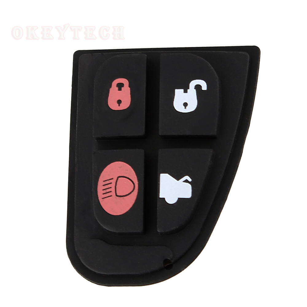 Okeytech 1pcs Remote Key Fob 4 Button Rubber Key Pad  Switch Repair Replace Kit Accessories for Jaguar X Type XF S XJ XK TYPE