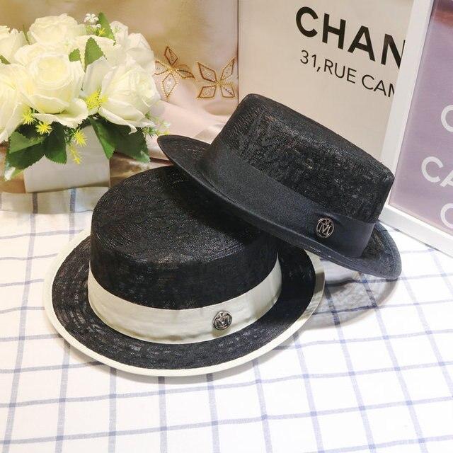 Summer Fashion Black Lace Flat Top Fedora Hats Female Women Casual Sun-shading Beach Caps Free Shipping WMDS-017