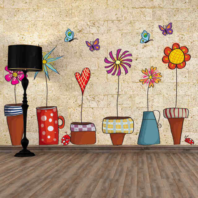 Flower pot butterfly wall cover stickers house decoration diy print mural art plant home decals kids
