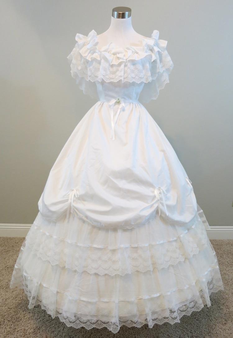 Белый оборками и кружевами гражданская война костюм ренессанс dress long dress