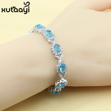 New Blue Created Topaz  Cubic Zirconia Pretty Silver Color Jewelry Adjustable Link Chain Fashion Bracelet Length 18+3 cm