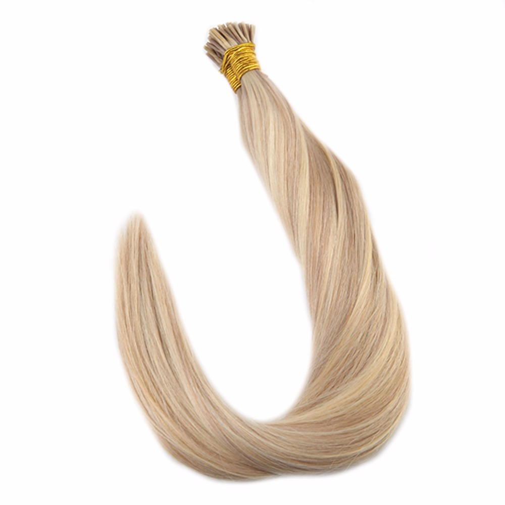 Full Shine Highlighted Blonde Piano Color #18/613 I Tip Hair Extensions 1g Per Strand 50g Pre Bonded Remy I Tip Hair Extensions