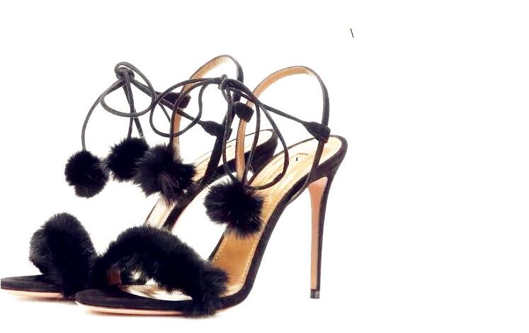 Women sandals 2017 Summer footwear with open toe slingbacks corss-tied ladies black high heel pom pom bubbles faux fur sandals