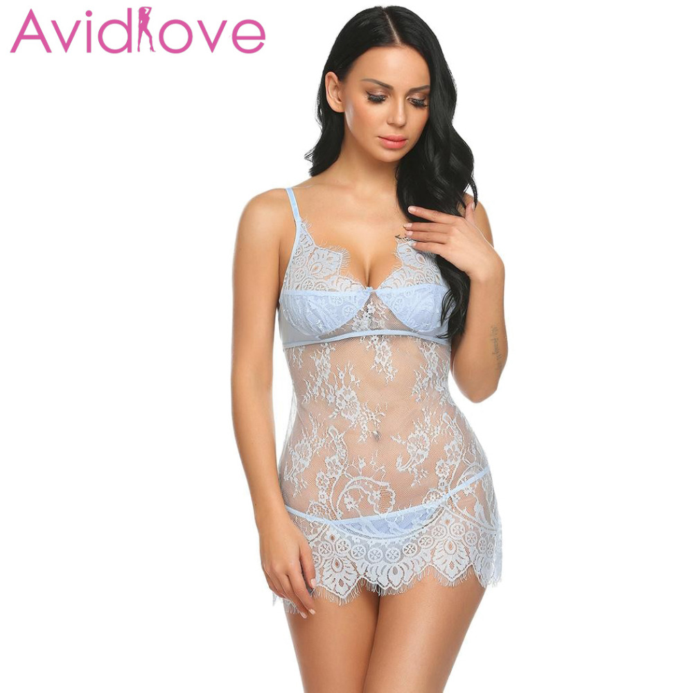 Buy Avidlove Sexy Back Open Babydoll Lingerie Erotic Hot Sex Costume Transparent Floral Lace Mini Sleepwear Nightwear Exotic Apparel