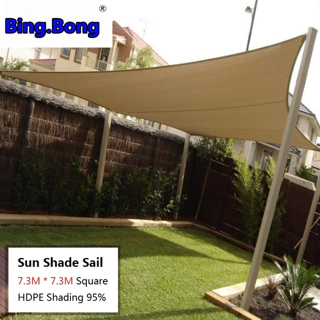 Outdoor Hanging Sun Shade Sail 7 3m Square Hdpe Shading 95 Awnings Garden Park Balcony Roof Carport Easy Install Rope