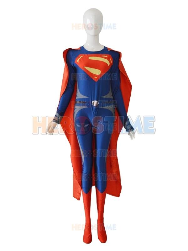 Deep Blue & Red Steel Superman Costume The New Lycra Spandex Superman zentai suit Halloween Cosplay Superhero Costumes
