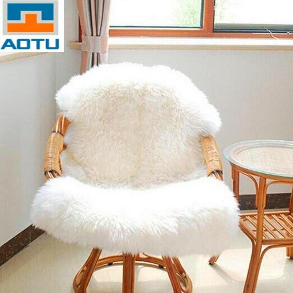 aotu super suave de imitacin de piel de oveja asiento de silla caliente hairy moqueta del